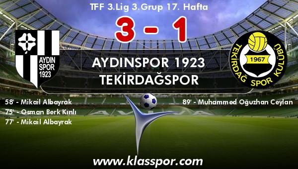 Aydınspor 1923 3 - Tekirdağspor 1