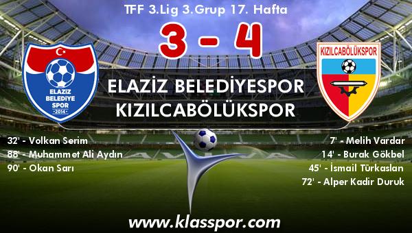 Elaziz Belediyespor 3 - Kızılcabölükspor 4