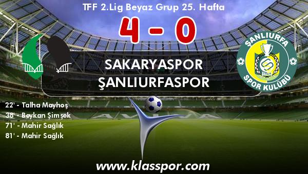 Sakaryaspor 4 - Şanlıurfaspor 0