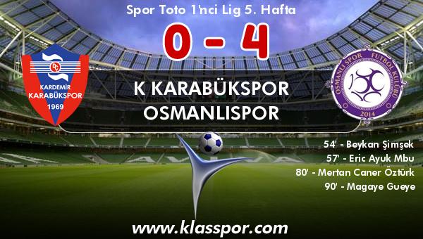 K Karabükspor 0 - Osmanlıspor 4