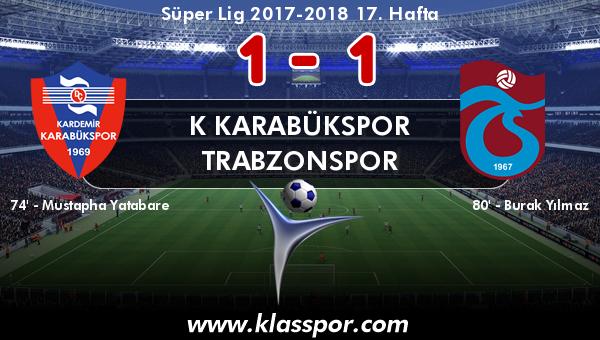 K Karabükspor 1 - Trabzonspor 1