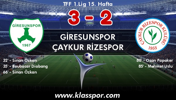 Giresunspor 3 - Çaykur Rizespor 2