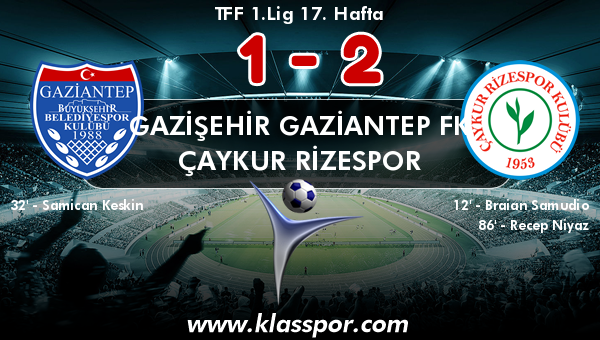 Gazişehir Gaziantep FK 1 - Çaykur Rizespor 2