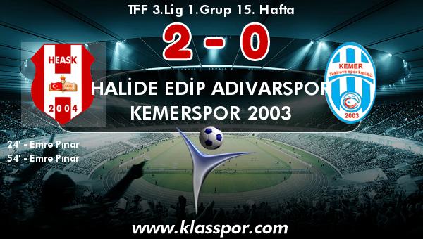 Halide Edip Adıvarspor 2 - Kemerspor 2003 0