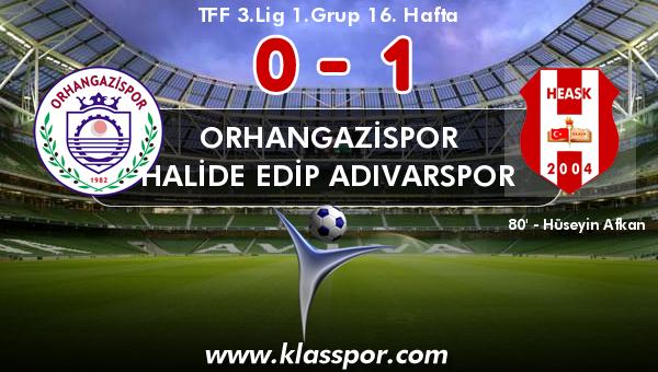 Orhangazispor 0 - Halide Edip Adıvarspor 1