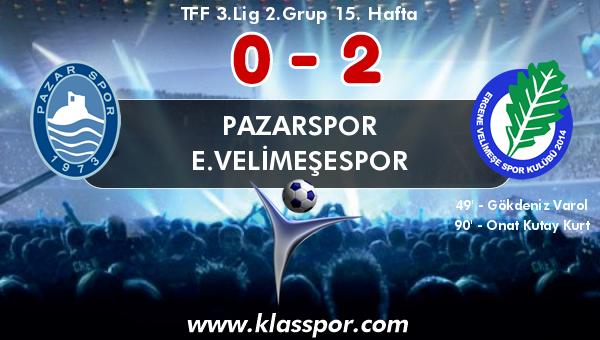 Pazarspor 0 - E.Velimeşespor 2
