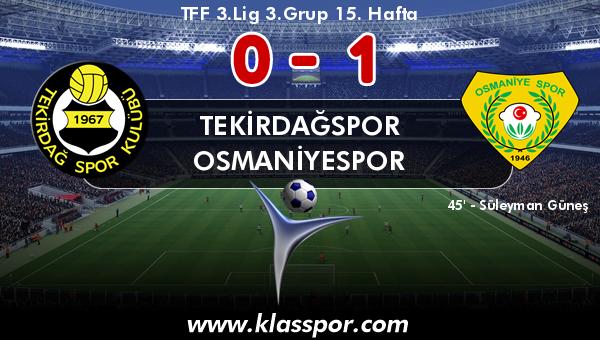 Tekirdağspor 0 - Osmaniyespor 1