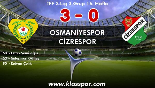 Osmaniyespor 3 - Cizrespor 0