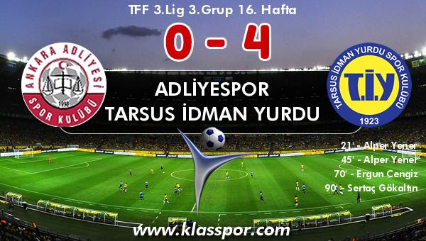 Adliyespor 0 - Tarsus İdman Yurdu 4
