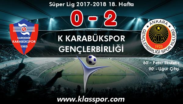 K Karabükspor 0 - Gençlerbirliği 2