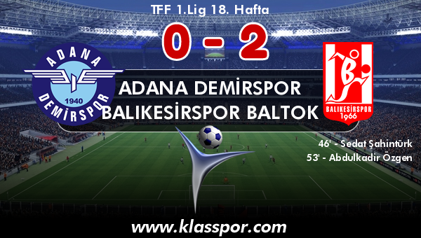 Adana Demirspor 0 - Balıkesirspor Baltok 2
