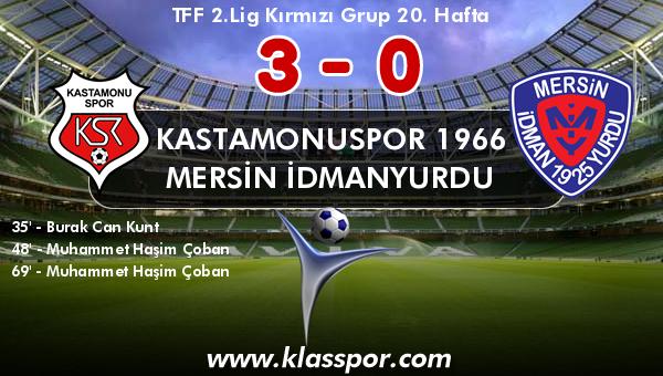 Kastamonuspor 1966 3 - Mersin İdmanyurdu 0