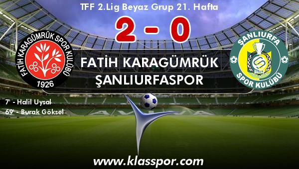 Fatih Karagümrük 2 - Şanlıurfaspor 0