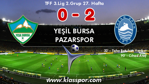 Yeşil Bursa 0 - Pazarspor 2