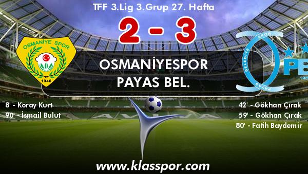 Osmaniyespor 2 - Payas Bel. 3