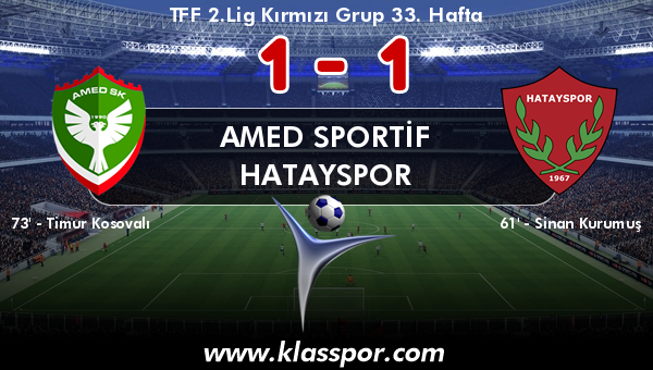 Amed Sportif 1 - Hatayspor 1