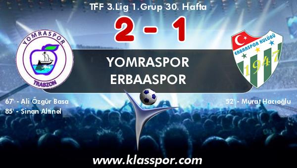 Yomraspor 2 - Erbaaspor 1