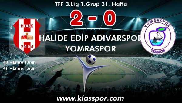 Halide Edip Adıvarspor 2 - Yomraspor 0