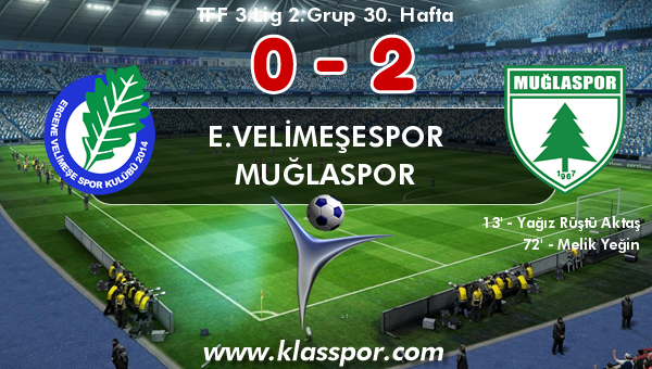E.Velimeşespor 0 - Muğlaspor 2