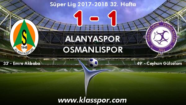 Alanyaspor 1 - Osmanlıspor 1