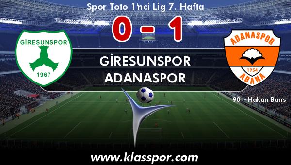 Giresunspor 0 - Adanaspor 1