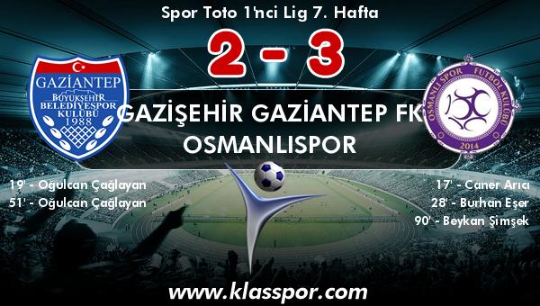 Gazişehir Gaziantep FK 2 - Osmanlıspor 3