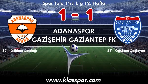 Adanaspor 1 - Gazişehir Gaziantep FK 1