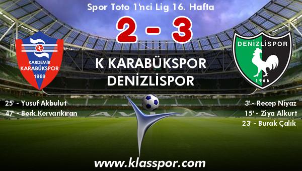 K Karabükspor 2 - Denizlispor 3