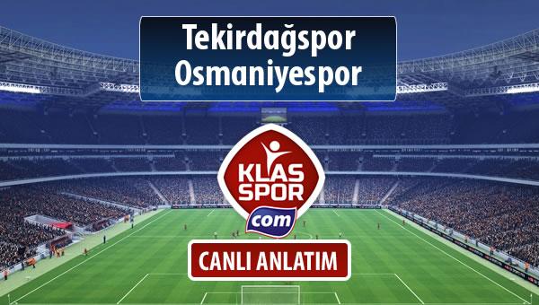 İşte Tekirdağspor - Osmaniyespor maçında ilk 11'ler