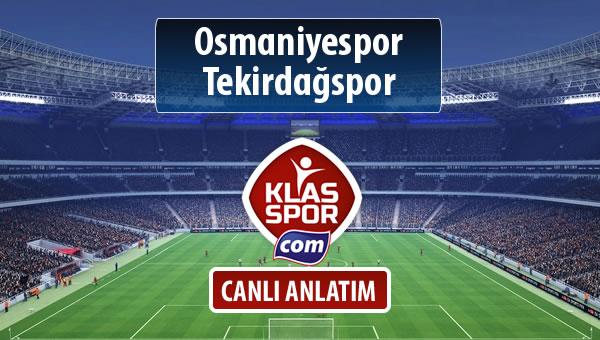 Osmaniyespor - Tekirdağspor sahaya hangi kadro ile çıkıyor?