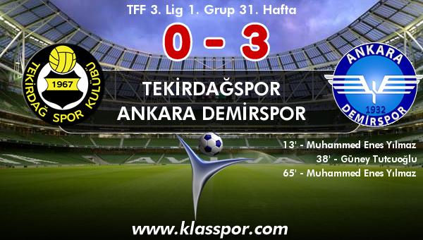 Tekirdağspor 0 - Ankara Demirspor 3