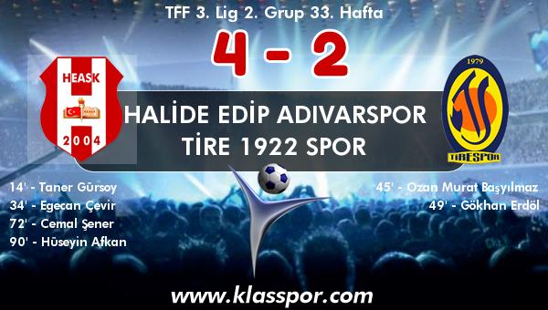 Halide Edip Adıvarspor 4 - Tire 1922 Spor 2