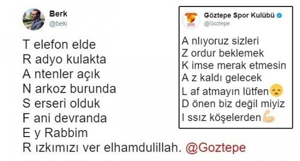 """Göztepe'de """"aşık atışması"""" gibi yazışma"""
