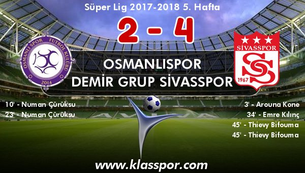 Osmanlıspor 2 - Demir Grup Sivasspor 4