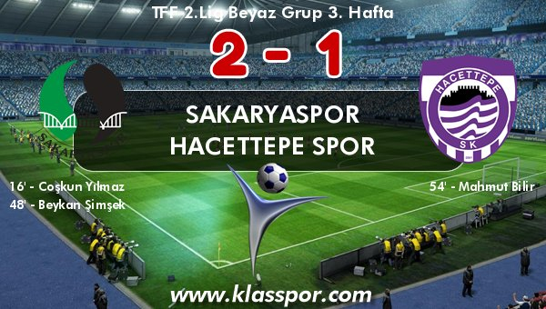 Sakaryaspor 2 - Hacettepe Spor 1
