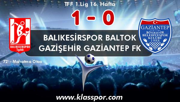 Balıkesirspor Baltok 1 - Gazişehir Gaziantep FK 0