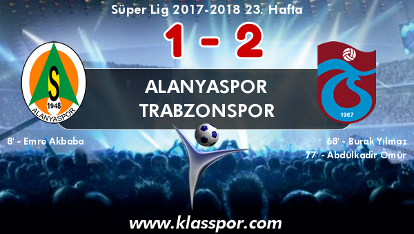 Alanyaspor 1 - Trabzonspor 2