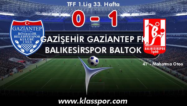 Gazişehir Gaziantep FK 0 - Balıkesirspor Baltok 1