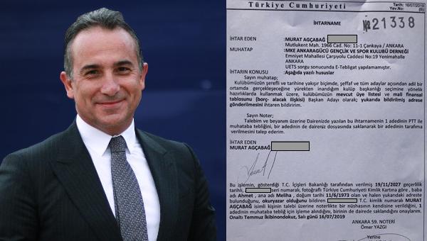 Murat Ağcabağ'dan Ankaragücü'ne ihtarname!