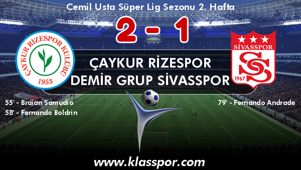 Çaykur Rizespor 2 - Demir Grup Sivasspor 1