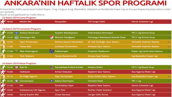 Bu hafta Ankara'da spor  karşılaşmaları
